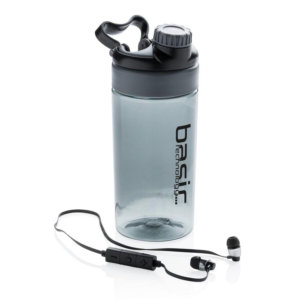 Auslaufsichere Flasche mit kabellosem Kopfhörer