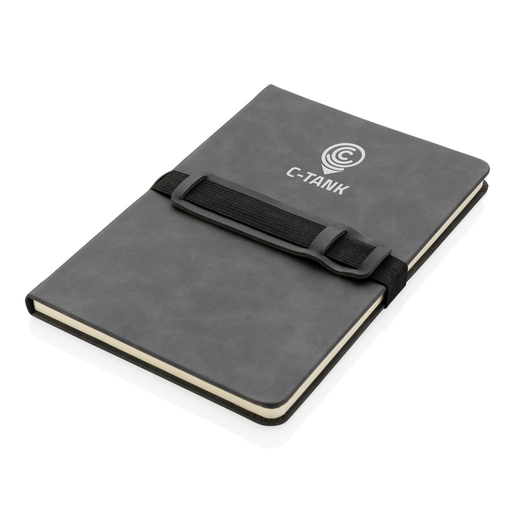 Deluxe Hardcover PU Notizbuch mit Handy- und Stiftehalter