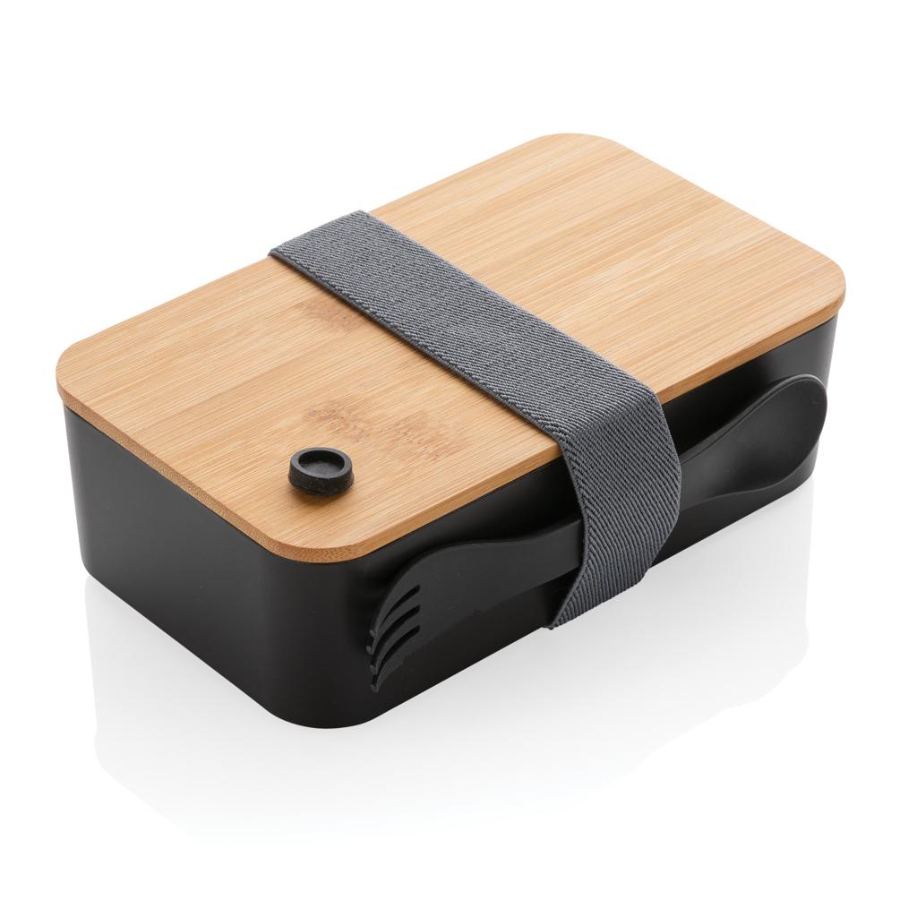 PP Lunchbox mit Bambusdeckel & Göffel