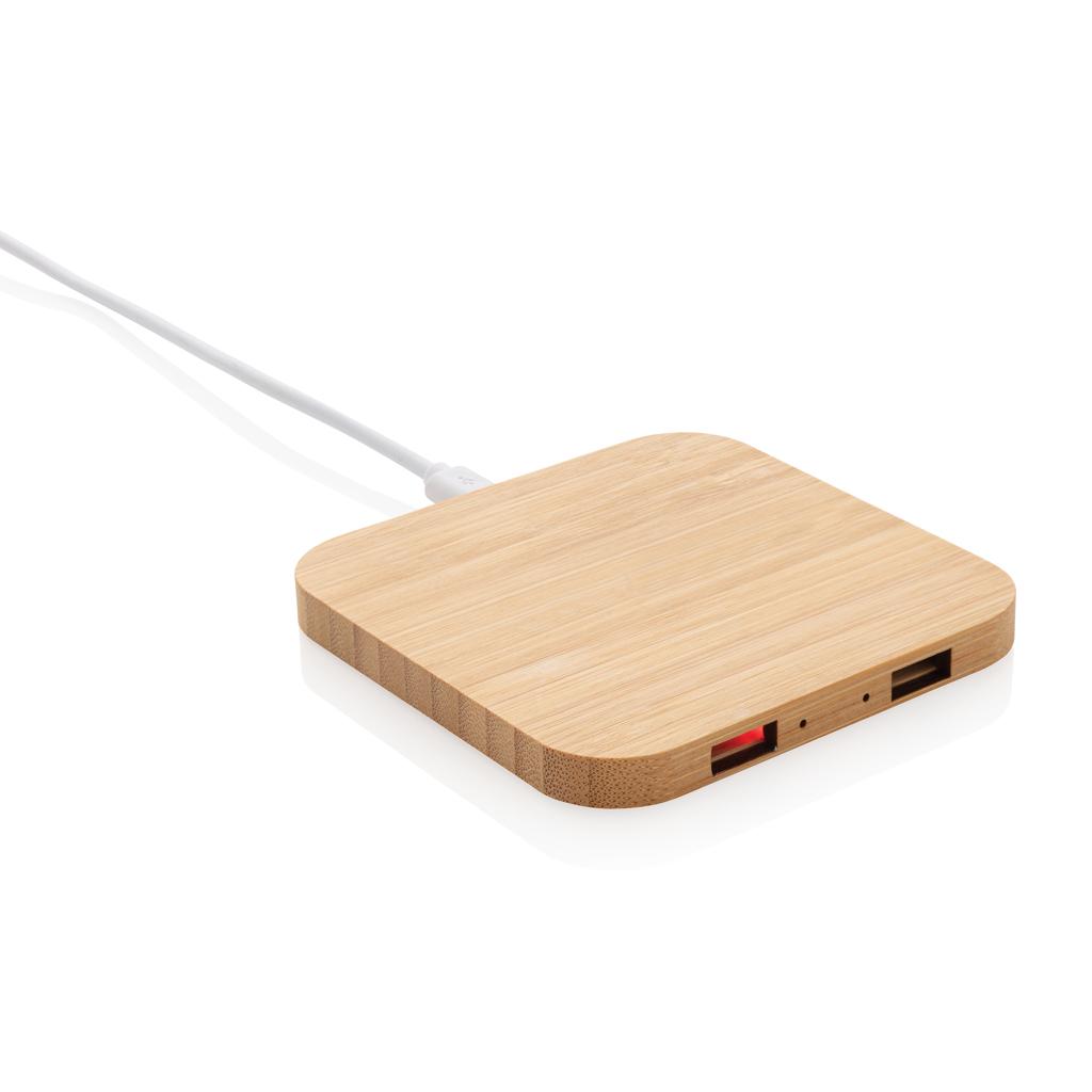 Bambus 5W Wireless Charger mit USB-Ports
