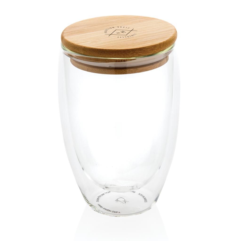 Doppelwandiges Borosilikatglas mit Bambusdeckel 350ml
