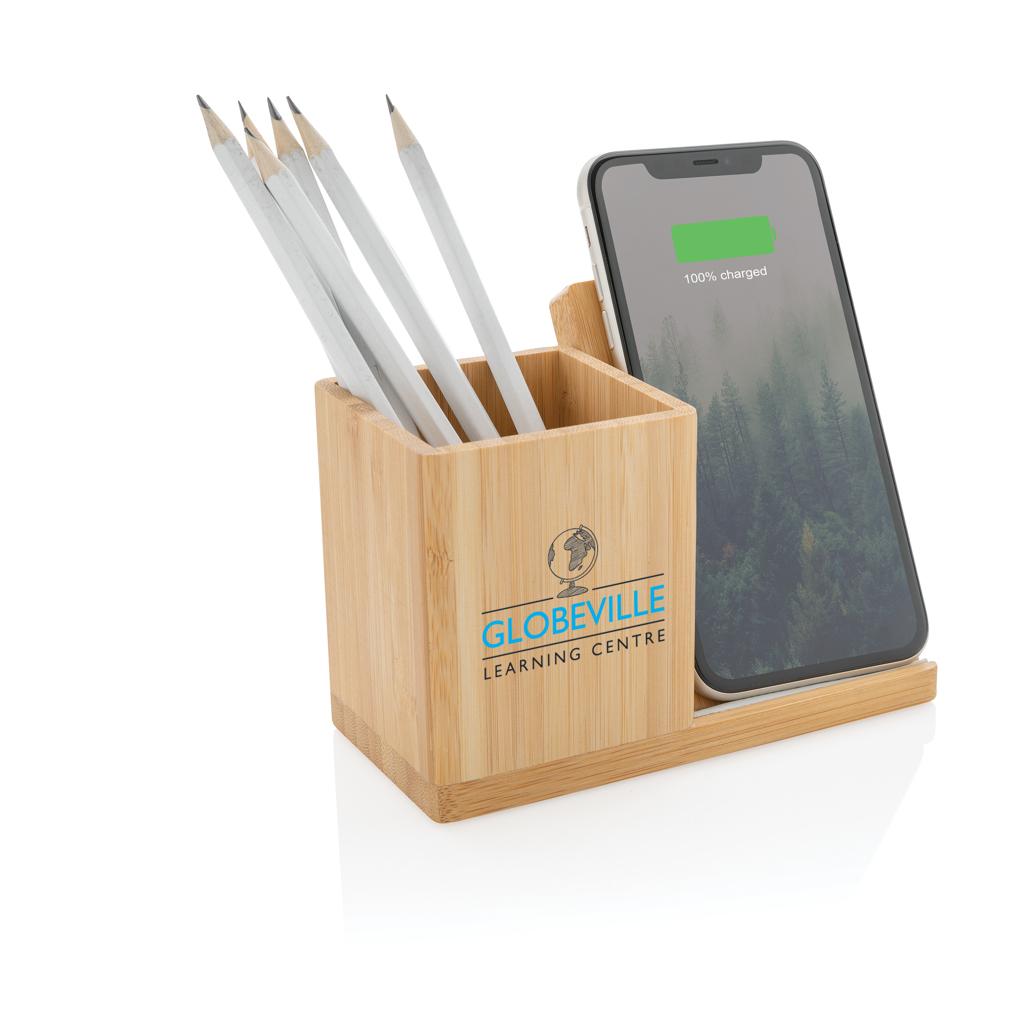 Calgary 5W Wireless Charger und Stiftehalter aus Bambus