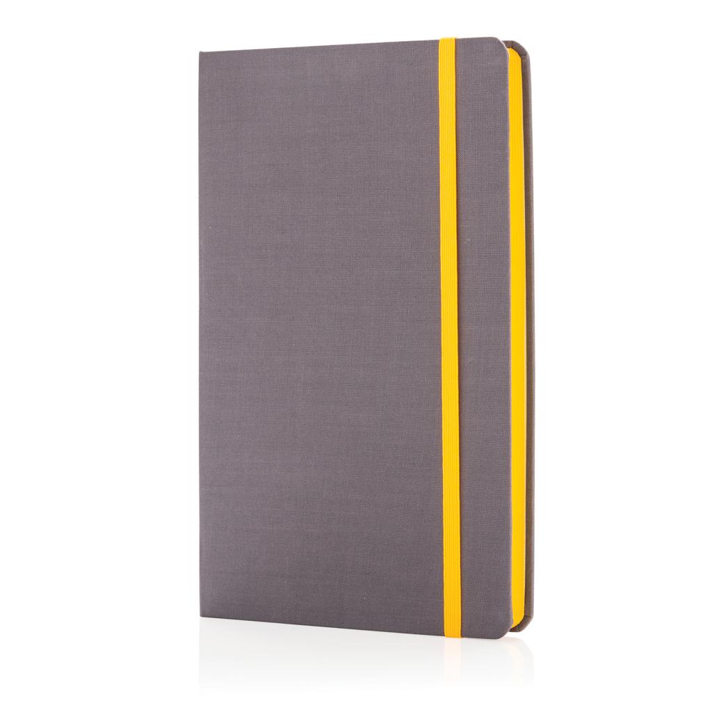 Deluxe A5 Stoff-Notizbuch mit farbigem Beschnitt