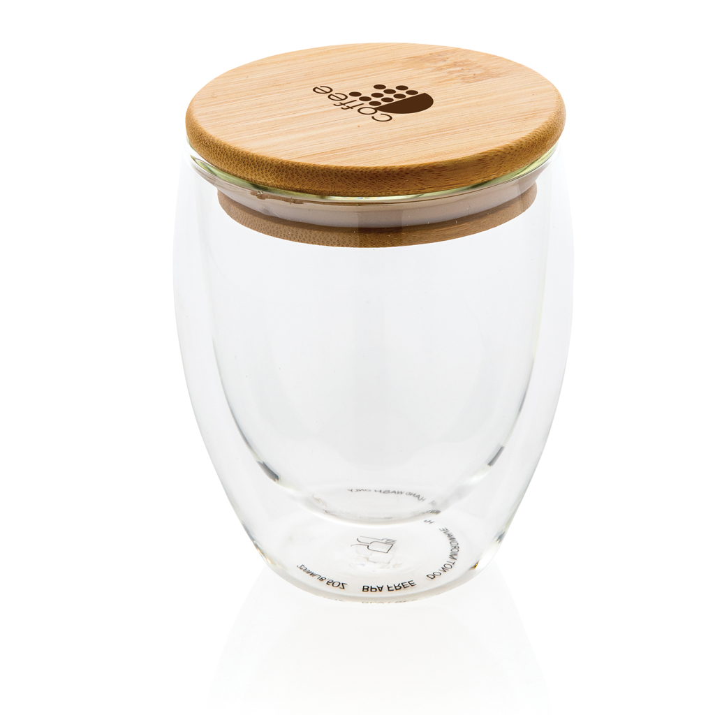 Doppelwandiges Borosilikatglas mit Bambusdeckel 250ml