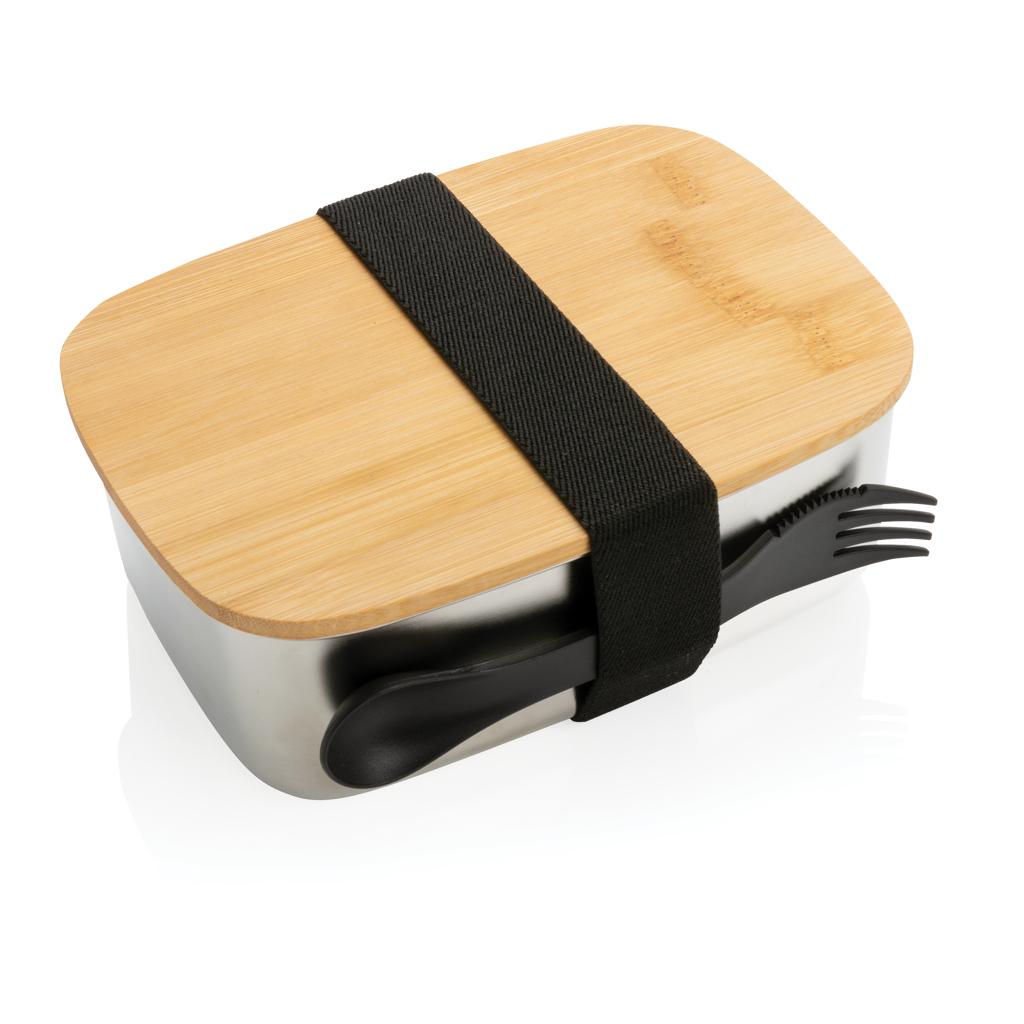 Stainless Steel Lunchbox mit Bambus-Deckel und Göffel