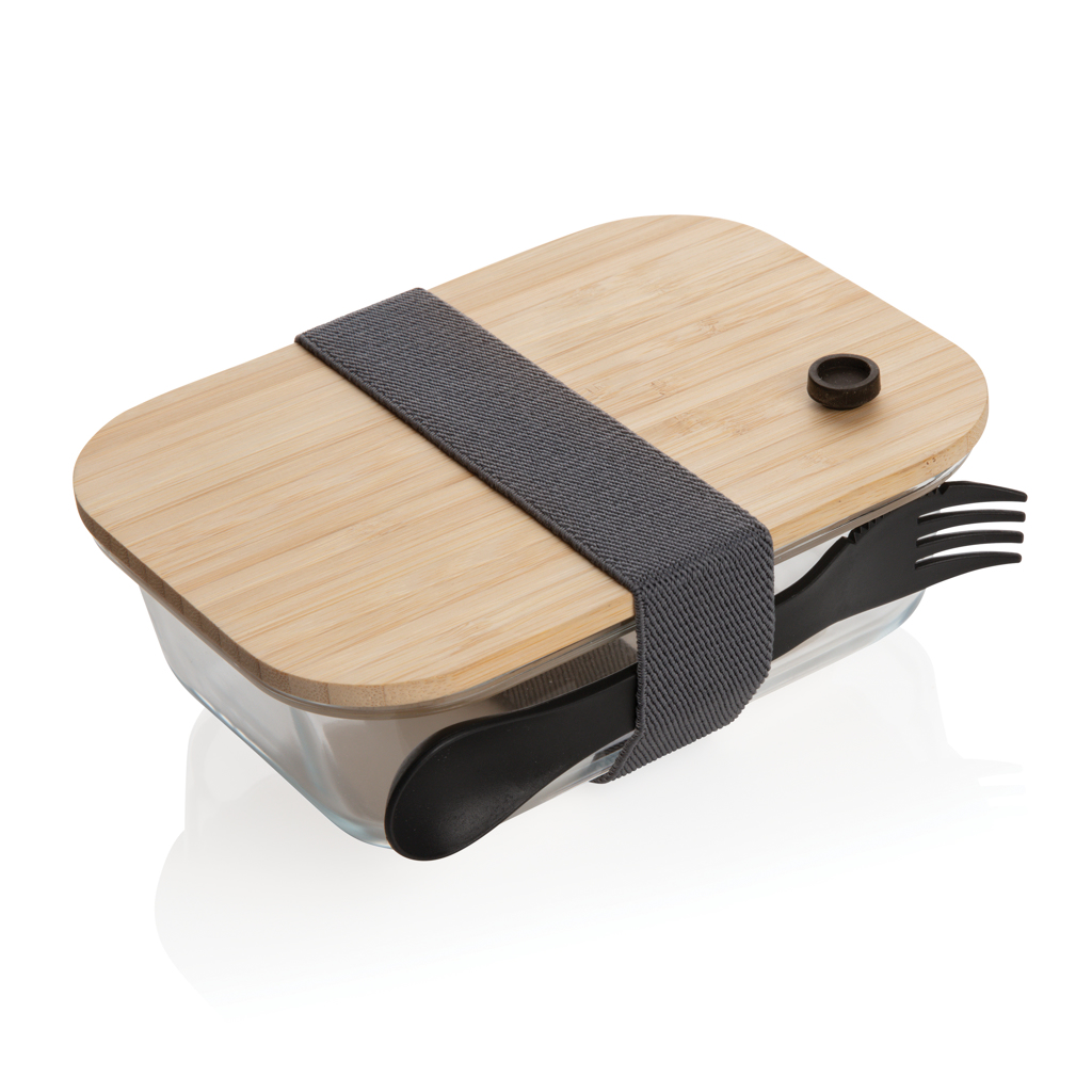 Lunch-Box aus Glas mit Bambusdeckel